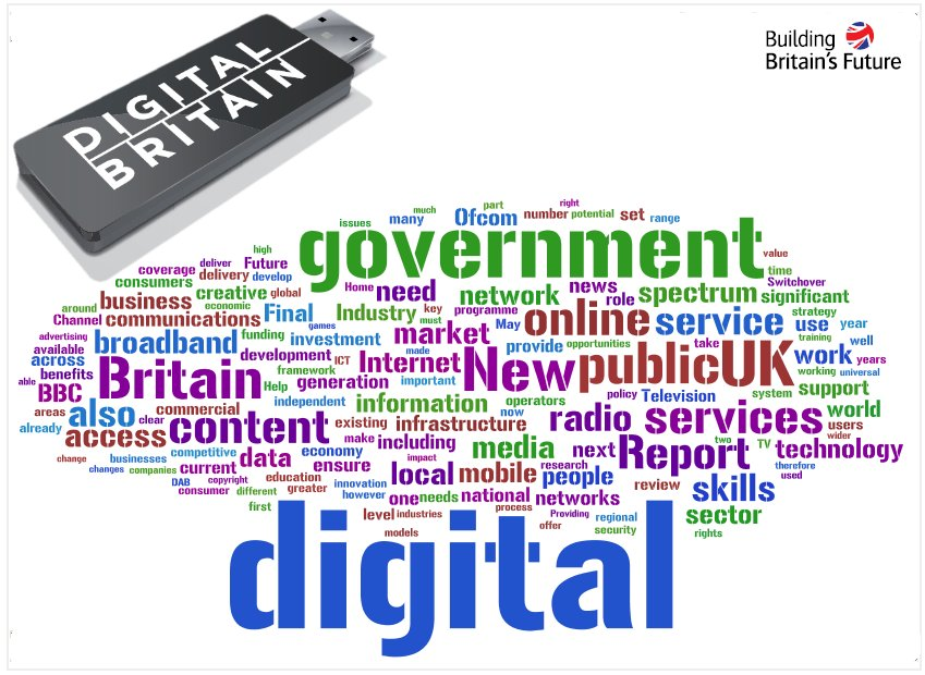 The Digital Britain report presented as a word cloud created by wordle